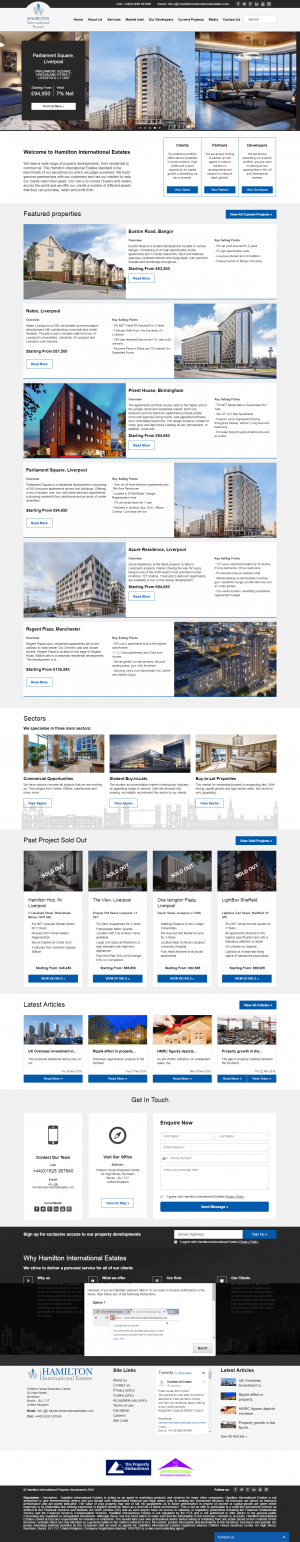 Hamilton International Estates Website Layout 2