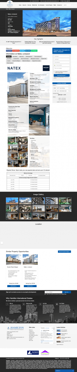 Hamilton International Estates Website Layout 3